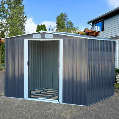 Dark Grey Garden Shed Mighty Metal Galvanized Steel House with Free Foundation