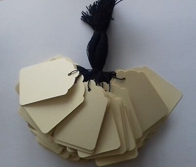 100 Cream Strung Labels 69Mm X 44Mm Swing Tickets Price Tags With Black String