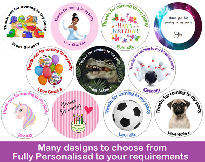 24x Round Personalised Birthday Stickers Labels Thank You For Coming To My Party