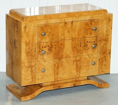 Lovely Burr Elm Art Deco Style Chest Of Drawers On Stepped Base Lovely Patina