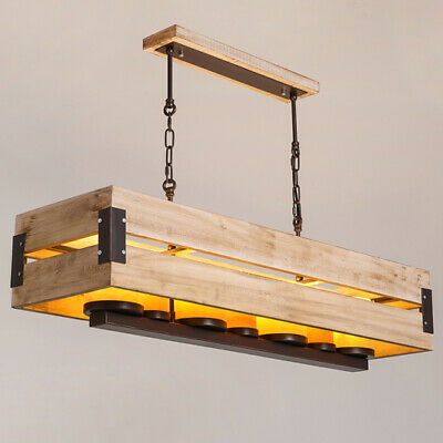 Rustic Rectangular Raw Wood Marble Shade 7-Light Large Pendant LED Ceiling Lamp