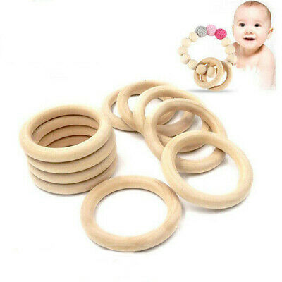 20Pcs Natural Wooden Baby Teether Ring Unfinished Wood Jewellery Craft