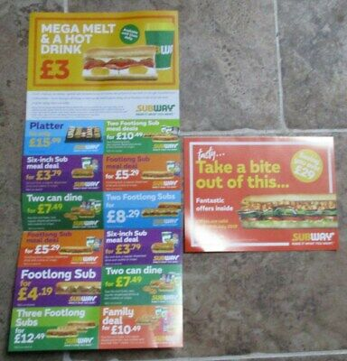 SUBWAY Take a Bite - 24 VOUCHERS WORTH £59+ VALID UNTIL 31/07/19 in WALES ONLY