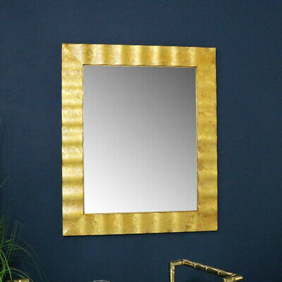 Large gold framed wall mirror vintage antiqued rectangle shabby chic luxe decor