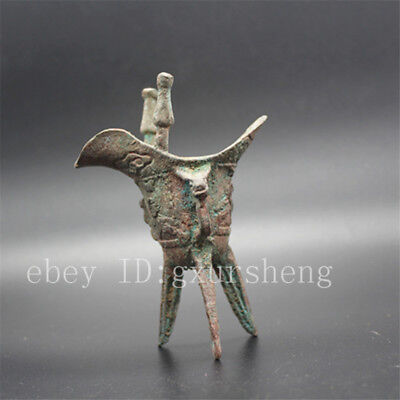 China Antique Collection Copper Emperor Wine Glass Crafts Decoration
