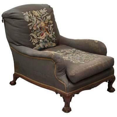 Victorian Walnut Claw & Ball Framed Howard & Sons Grafton Armchair Embroidered