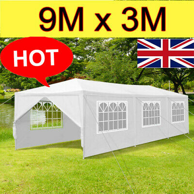 LANGRIA 9 x 3m Waterproof Garden Gazebo Marquee Tent Party Awning Shelter White
