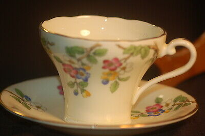 Aynsley  Corsetted  Handpainted Floral Cup and Saucer