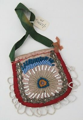 Native American Indian Iroquois beaded purse (radiating design). PROVENANCE