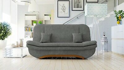 Sofa Weronika - 2 Seater Sofabed + Storage + Easy Pull Out Bed - Grey Fabric