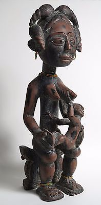 African  tribal carved Angi Maternity figure. Pre 1940. Ethnographic antique.