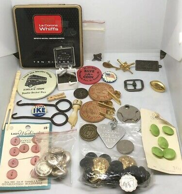 ESTATE FIND Antiques Vintage Sewing Coins Plastic Buttons Tokens Drawer FindMisc