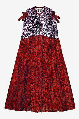 56d897167c5 Kenzo H&M Silk Maxi Dress Tiger Zebra Print S Oversize Gown Long Pink Red