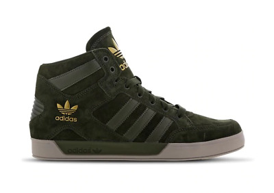 MENS ADIDAS ORIGINALS Hardcourt Hi Top Trainers Shoes Leather Brown Grey F36699