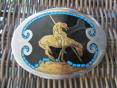 Vintage Belt Buckle End Of The Trail,Horse & Native American Inlay Made Denver