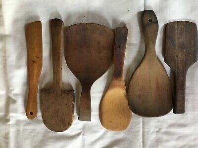 Lot of 6 Antique Butter Paddle Dough Scoop Wood Spoon Stirrer Primitive Country