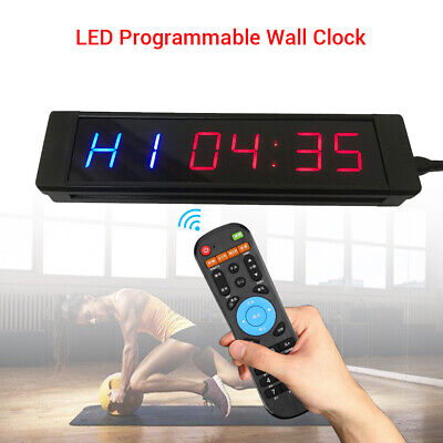 Programmable LED Blue Red Display Clock Training Stopwatch Timer For Fitness Gym