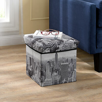 en.casa® Tabouret New York 30x30x30cm box de conservation coffre