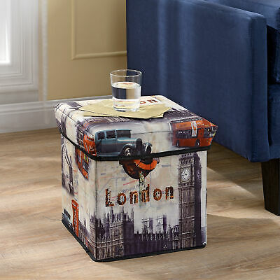 "en.casa® Tabouret""London"" 30x30x30cm box de conservation coffre"