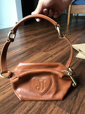 7ab732f90 JUICY COUTURE Made W/ Love Small Brown Leather Box HANDBAG Purse Heart  Initial J
