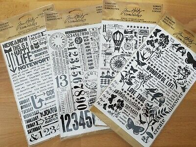 Tim Holtz Idea-ology Remnant Rubs 4 Packs: Botanical, Quotes, Numbers, Elements