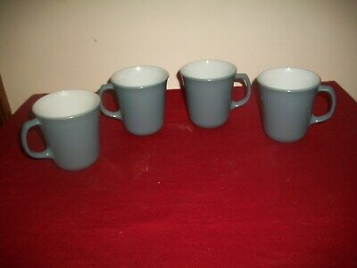 Lot of 4 Vintage Pyrex Slate Blue & White Milk Glass Coffee Cups/Mugs Excellent!