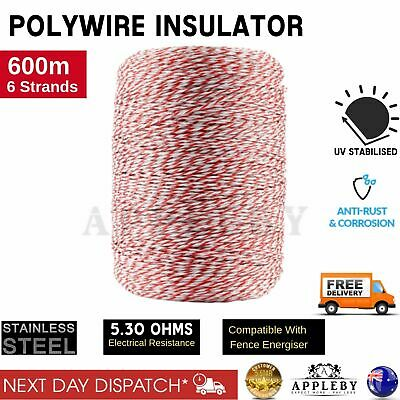 Stainless Steel Polywire Electric Fence Poly Tape Roll 600m Energiser Polyrope