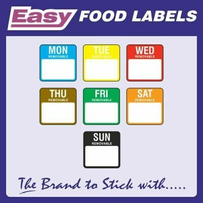 Day Dot Food Date Rotation Hygiene Labels in Packs 25mm Squares Monday to Sunday