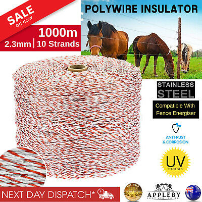 1000m Roll Polywire Stainless Steel Electric Fence Poly Tape Energiser Polyrope