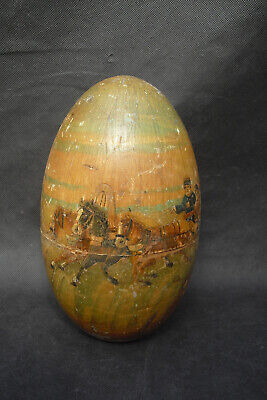 Russian hand made hand painted wooden egg with horse drawn sleigh Pushkin? 1930s