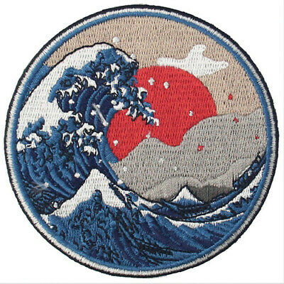 Embroidered Patches Iron Sew On Patch transfers Badge applique Wave off Kanagawa