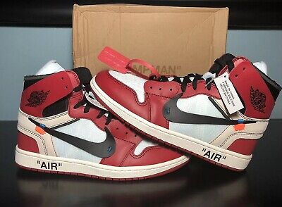 aabb25e0 Nike Off-White Air Jordan 1 Chicago Basketball Red Black White Size 10  Deadstock