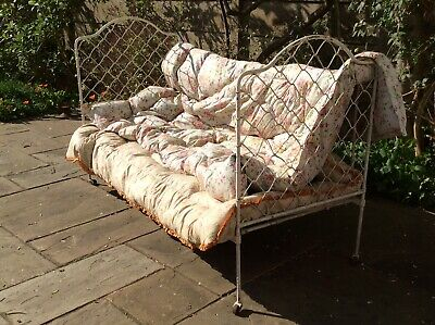 RARE Original Antique French Iron Mesh Daybed Cot Victorian Vintage Garden