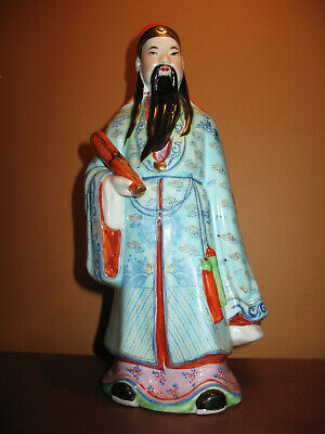 Vintage Chinese Porcelain Figurine Scholar Immortal Scroll Fu Hand Painted 10""
