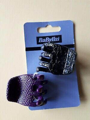 Babyliss 2 Pack Pattern Effect Black and Purple Hair Claws Clips Grips Slides