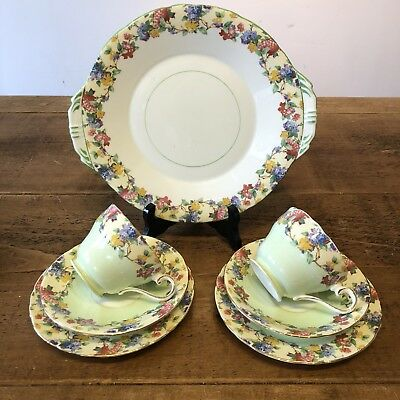 Gorgeous Pair Of Aynsley Trio And A Large Cake Plate