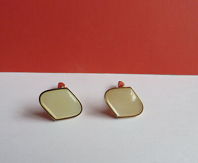 Vintage 1960s 70s faux mother of pearl & gold tone diamond shaped mens cufflinks