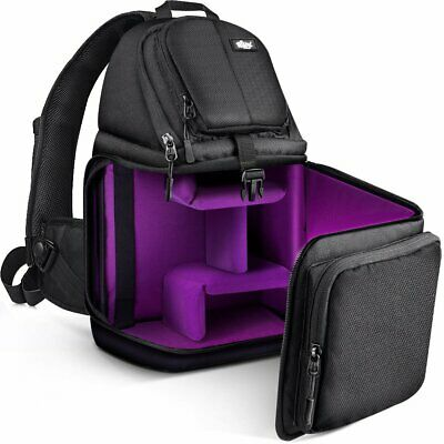 Qipi Camera Bag Sling Bag Style Camera Case Backpack with Modular Inserts w/cove