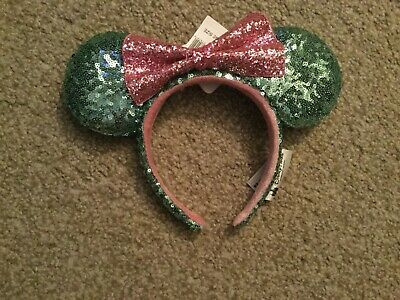 Disney Parks Minnie Mouse Mint Sequined Pink Bow Ears Headband New
