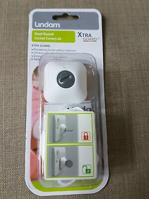 Lindam XTRA GUARD DUAL GUARD SOCKET COVERS X4 Baby Child Proofing BN