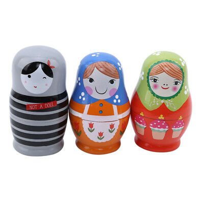 Cute Babushka Nesting Dolls Matryoshka Wooden Russian Painted Doll Toys SW