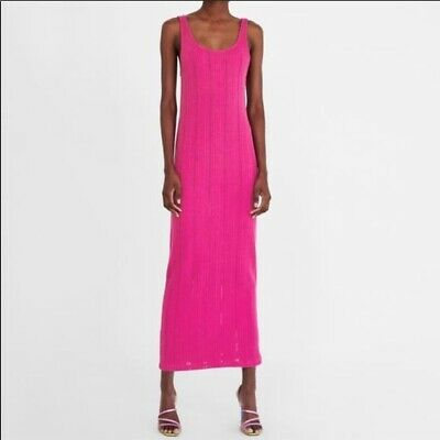 53e2fd45 ZARA NEW WOMAN Long Fitted Two Tone Ribbed Knit Dress Fuchsia S,M,L ...