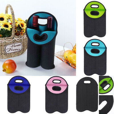 Set of 2 Neoprene Wine Carrier Tote Bag Beer Water Protective Insulated Covers