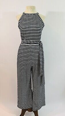 1970s VINTAGE Size Small Striped Pockets Sleeveless Palazzo Pant Jumpsuit