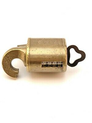 Vintage REG'D US MAIL Lock Postal Brass Rotary Counter Padlock W/Key Works! USPS