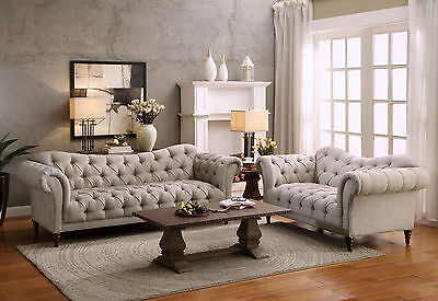 GARRETT Traditional Living Room Furniture Taupe Fabric 2 piece Sofa Loveseat Set