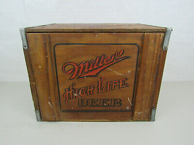 Vintage Miller High Life Beer Wooden Shipping Crate Moon Girl