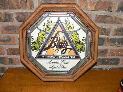 """Vintage 1978 Blatz Beer """"Stained Glass"""" Plastic Octagon Wall Display Sign"""