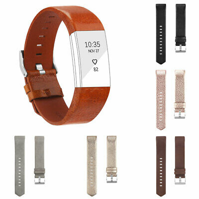 Eg_ Genuine Leather Replacement Watchband Strap For Fitbit Charge 2 Smart Bracel