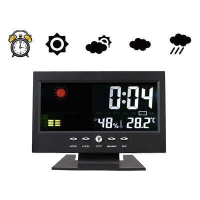 Color LED Digital Projection Alarm Clock Snooze Calendar Weather Monitor 12/24 H